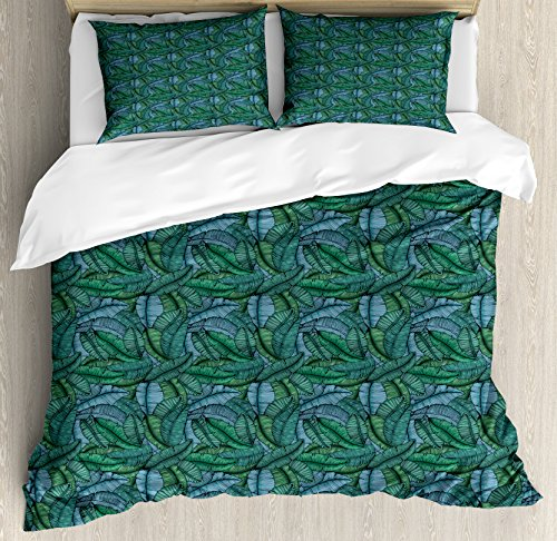 Ambesonne-Banana-Leaf-Duvet-Cover-Set-by-Hand-Drawn-Style-Botanical-Pattern-Tropical-Foliage-in-Green-and-Blue-Decorative-Bedding-Set-with-Pillow-Shams-Jade-Green-Pale-Blue