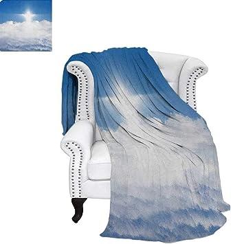 Couverture En Velours Bleu Et Blanc En Peluche Inspirée De La Mer  Composition Abstraite Avec éléments