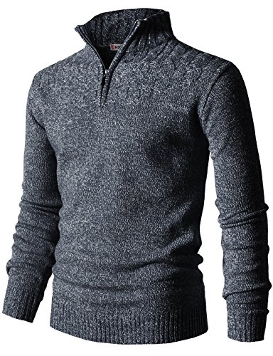 H2H Mens Casual Half Zip with Twisted Knitted Long Sleeve Pullover Sweater Navy US L/Asia XL (L/s Pullover Sweater)