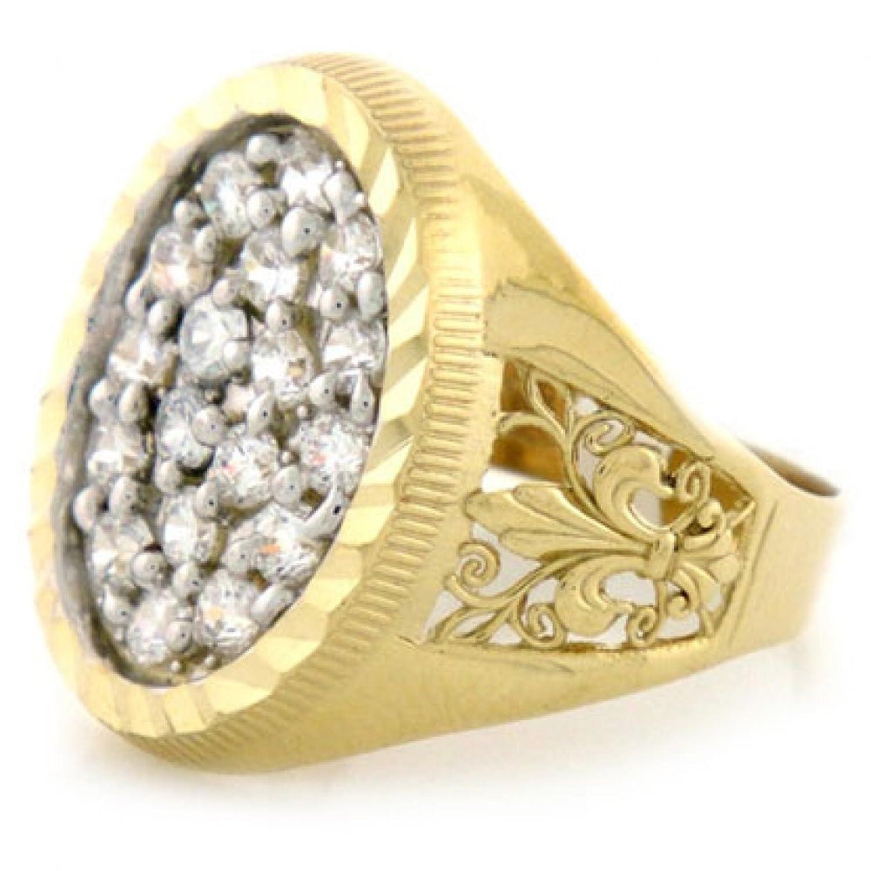10k Solid Yellow Gold CZ Mens Ring Fleur De Lis Design