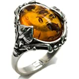 Baltic Honey Amber and Sterling Silver Filigree Oval Ring Sizes J, L, N, P, Q, S, T, V