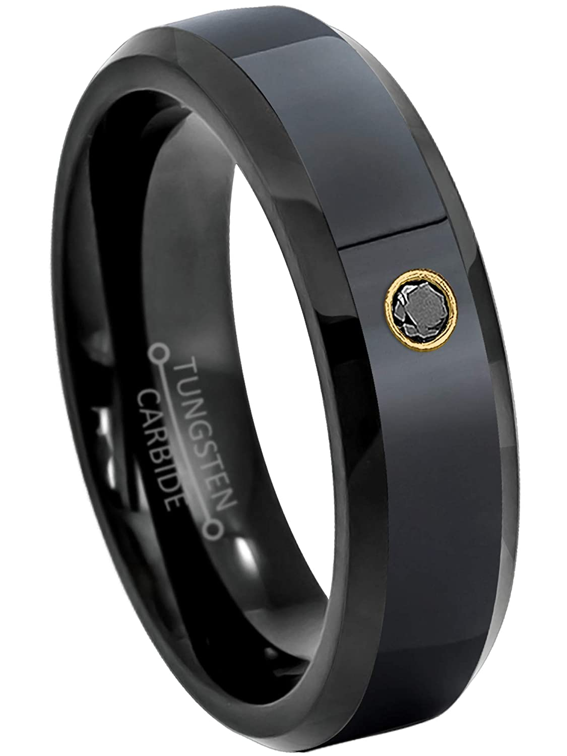 April Birthstone Ring 6MM Comfort Fit Brushed Black Ion Beveled Edge Tungsten Carbide Wedding Band Jewelry Avalanche 0.07ct Black Diamond Tungsten Ring