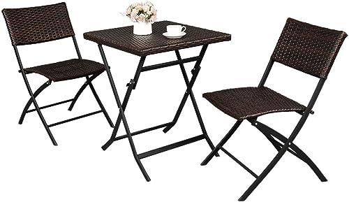 VINGLI 3 Pieces Folding Rattan Patio Bistro Set Wicker Patio Furniture Set