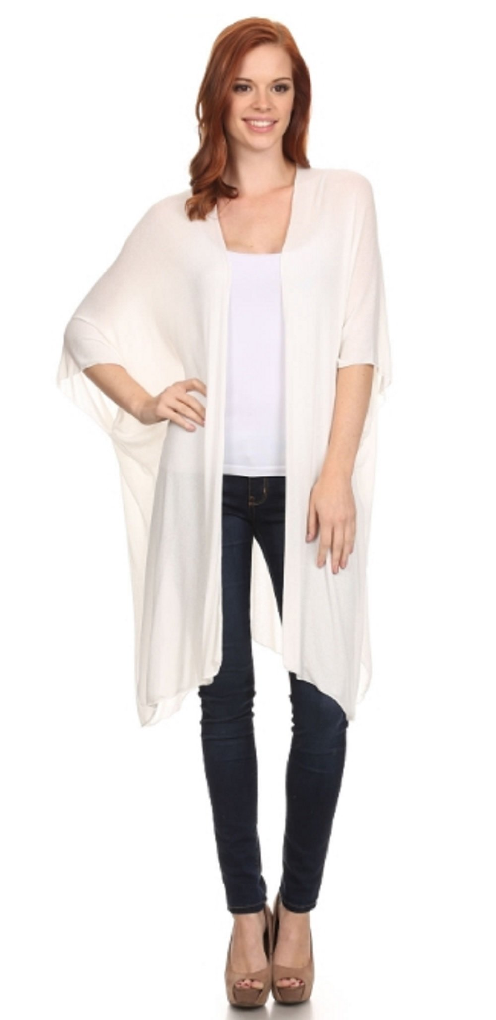 Love My Seamless Womens Ladies Fashion Long Shrug Open Cardigan Duster Cover up (Medium, Ivory)