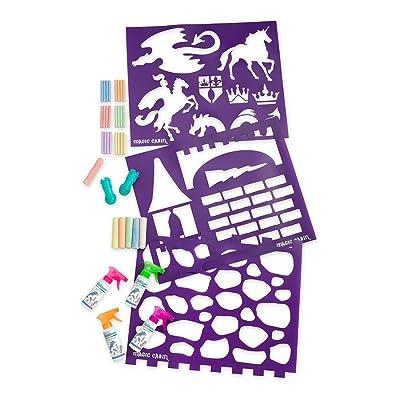 Magic Cabin ChalkScapes Enchanted Castle Sidewalk Chalk and Stencil Set - 4 Spray Chalks, 6 Jumbo Chalks, 3 Mega Stencils - Stencils Measure 18 W x 22 H: Toys & Games