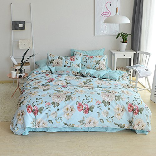 VClife Full Queen Duvet Cover Flower Branches White Blue Comforter Cover Sets Girls Princess Bedding Collections 3 PCS Stripe Geometric Bedding Sets, Spring Fresh Garden Style with Corner Tie, Style - Black Collection Tie Flowers White