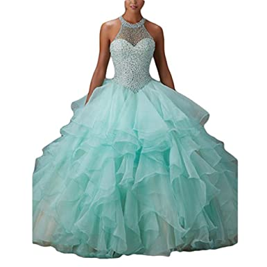 WHZZ Womens Ball Gown Ruffles Beaded Prom Gowns Halter Quinceanera Sweet 16 Dresses For Teens Long