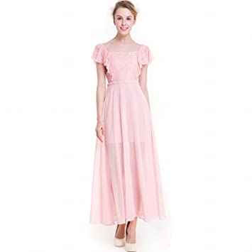 Süße Reine Farbe Chiffon- Kleid Volants Chiffon-Kleid Spitzen Nähen ...