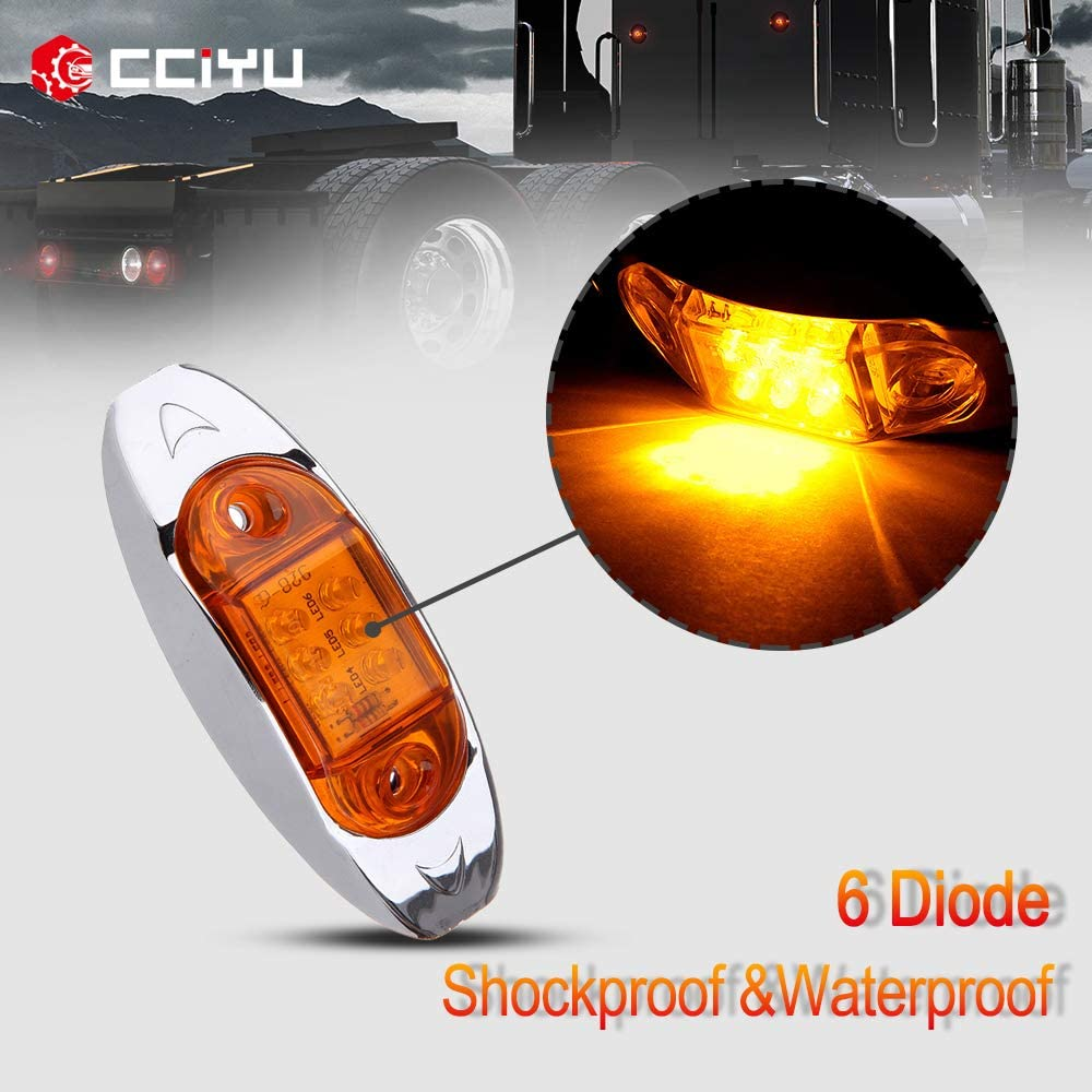cciyu Car Marker Light 2Pack 2 Diode Red Universal LED Side Marker Lights Kits Clear Lens Waterproof Trailer Fender Marker Lamp Automotive Boat Clearance Light