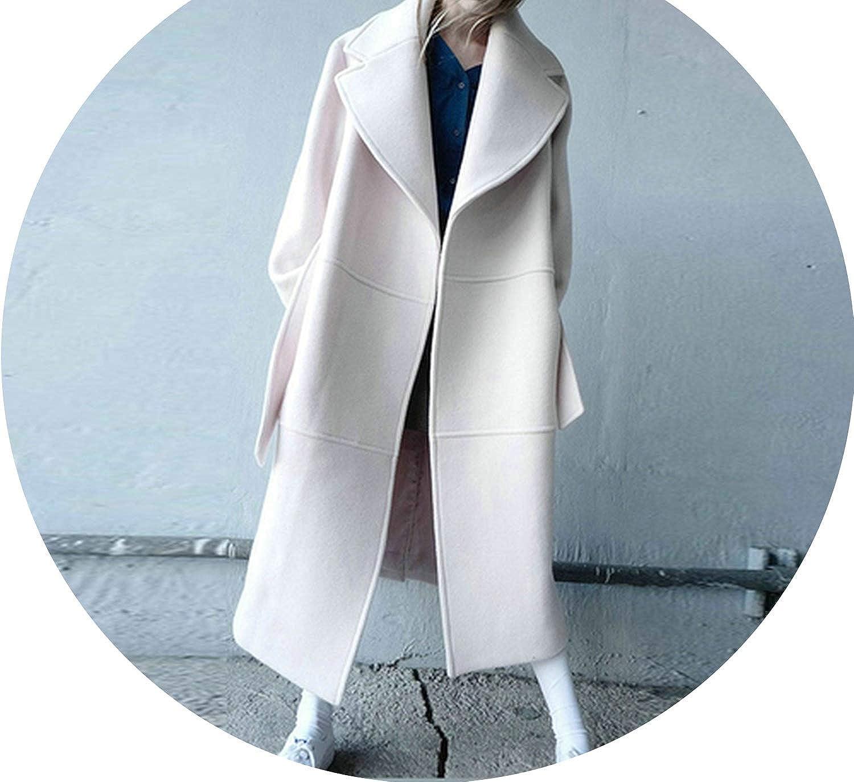 Cream white Souieyshop Winter Wool Coat Women Autumn Woolen Loose XLong Jacket Female Oversized Belt White Jackets