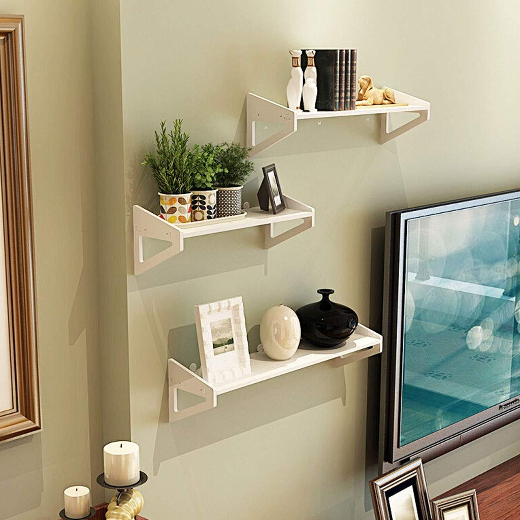 HX Wall Shelf, Wall Shelf Free Punching Bedroom Decoration Simple Flower Stand Wall Hanging Living Room Bookshelf TV Wall Word Shelf 3/4 Piece Set Wall Shelf, Wall Decoration (Size : 30×40×50cm) by HX