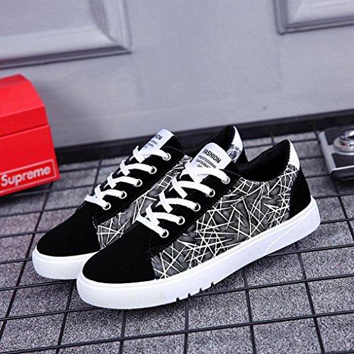Transer® Herren/Jungen Sneakers Walking Leinwand Outdoorsandalen Schnüren Laufschuhe Sport Schuhe (Bitte achten Sie auf die Größentabelle. Bitte eine Nummer größer bestellen) Schwarz
