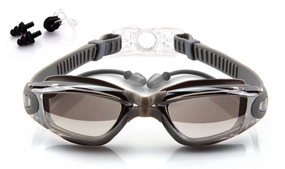 4b618439ed Swimming Goggles with Earplug No Leaking Anti Fog UV Protection Adjustable  Strap Adjustable for Men Women