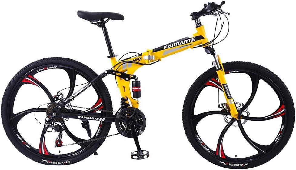 21 velocidades Bicicleta de monta/ña para Adultos de Velocidad Variable de 26 Pulgadas Bicicleta de Carretera de Velocidad Variable para Hombres y Mujeres Lomsarsh Bicicletas Plegables