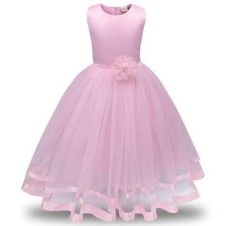 Lonshell – Vestido de fiesta estilo princesa para niña (Rosa, 8T)
