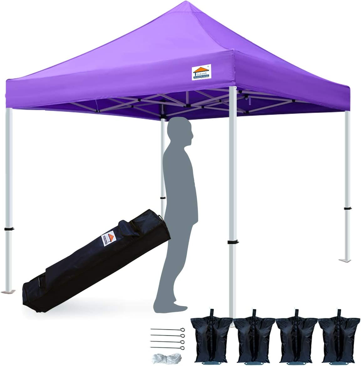 TISTENT 10 x10 Ez Pop Up Canopy Tent Commercial Instant Shelter with Heavy Duty Carrying Bag, 4 Canopy Sand Bags Purple