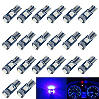 BlyilyB 20-Pack T5 74 2721 Blue LED Light Bulbs Replacement Dash Dashboard Lights Instrument Panel Cluster LED Lamps: Automotive