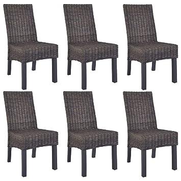 Esszimmerstühle 4 Stück Kubu Rattan und Mangoholz Braun