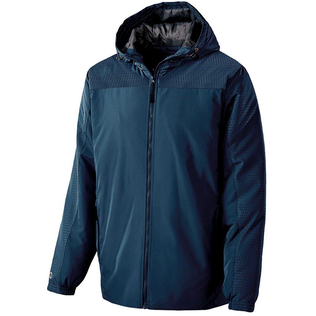 Holloway Youth Bionic Hooded Jacket (Large, Navy/Carbon)