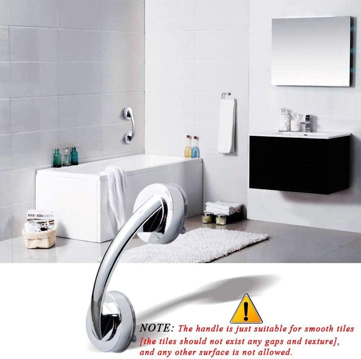 Poign/ée de porte Super Power Suction Cup Support de s/écurit/é puissant Rampe Accoudoir aidant lextracteur Barre dappui pour salle de bains Color : Silver