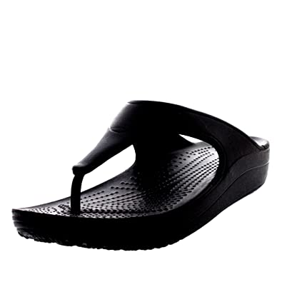 Crocs Womens Sloane Platform Flip Sandals Beach Lightweight Flip Flops -  Black - W5