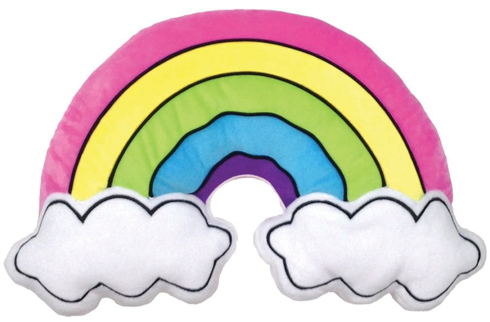 iscream Rainbow and Clouds Shaped Fleece 19'' x 12'' Microbead Pillow with Embroidered Acccents