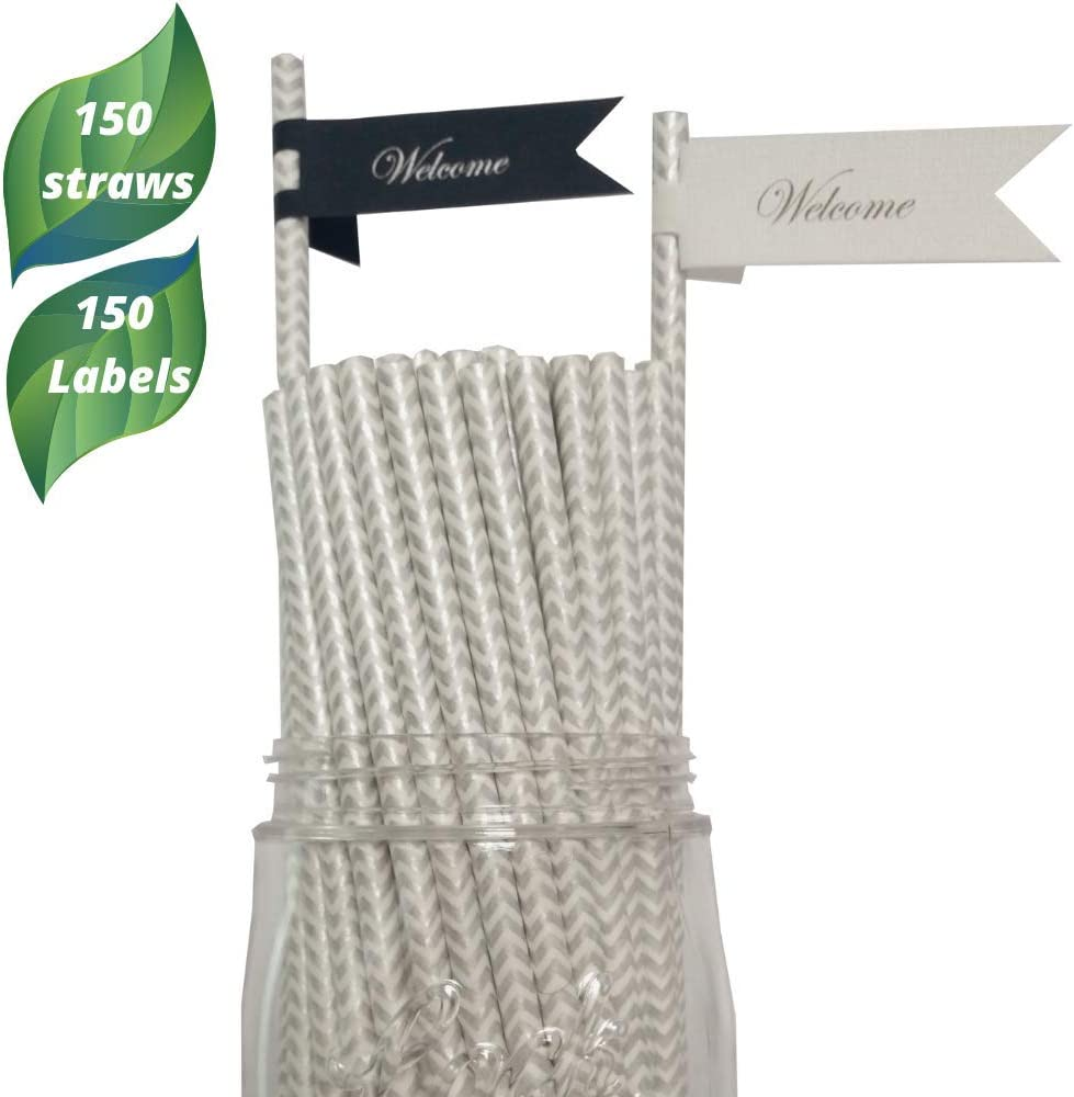 Custom Paper Straws with labels,150 Biodegradable straws-150 custom labels– Silver Disposable Straws for Wedding-Birthday- Bachelorette Party Decoration Eco Friendly Drinking Straws in bulk.