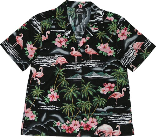 RJC Womens Pink Flamingo Hibiscus Camp Shirt in Black - XL