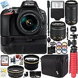 Nikon D5600 24.2 MP DX-Format DSLR Camera with AF-P 18-55mm VR & 70-300mm Lens Kit + 64GB Battery Grip Accessory Bundle