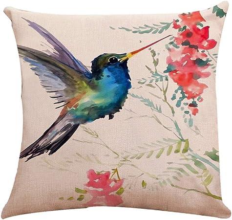 """18/"""" jolie oiseaux taie d/'oreiller Coton de Lin Décor Confortable Housse de coussin"""