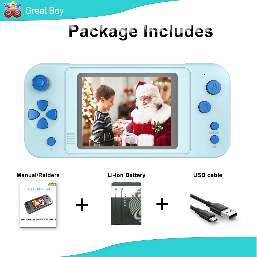 Great Boy Handheld Game Console for Kids Preloaded 218 Classic Retro Games with 3.5 Big Color Display Rechargeable Arcade Gaming System Red