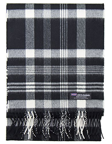 2 PLY 100% Cashmere Winter Scarf Elegant Collection Made in Scotland Warm Soft Wool Solid Plaid (Black White 319)