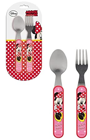 Minnie Mouse - Cubertería infantil de 2 piezas Cuchara + Tenedor Niños Cubiertos Disney: Amazon.es: Juguetes y juegos