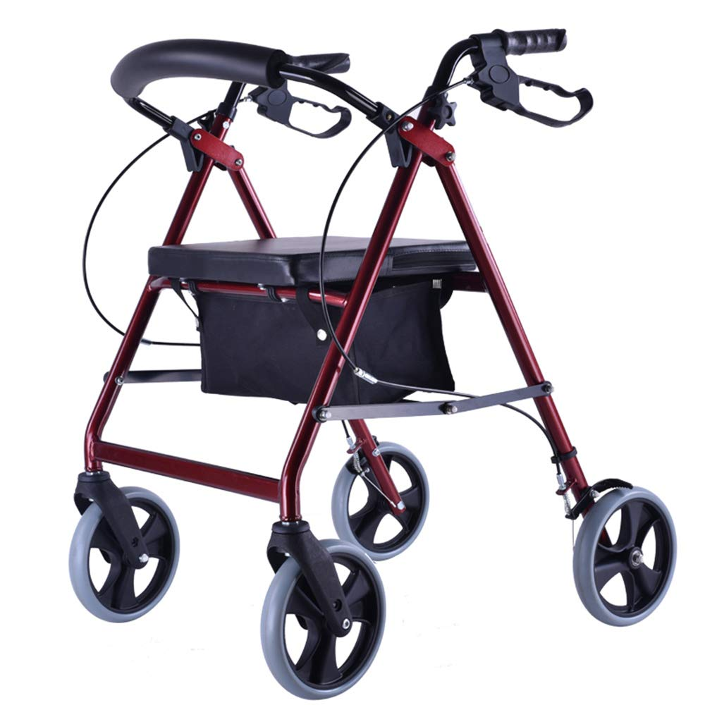 XXHDEE Elderly Walker Disabled Folding Red Four-Wheeled Walker Four Wheels Four-Leg Walker Walking aids by XXHDEE