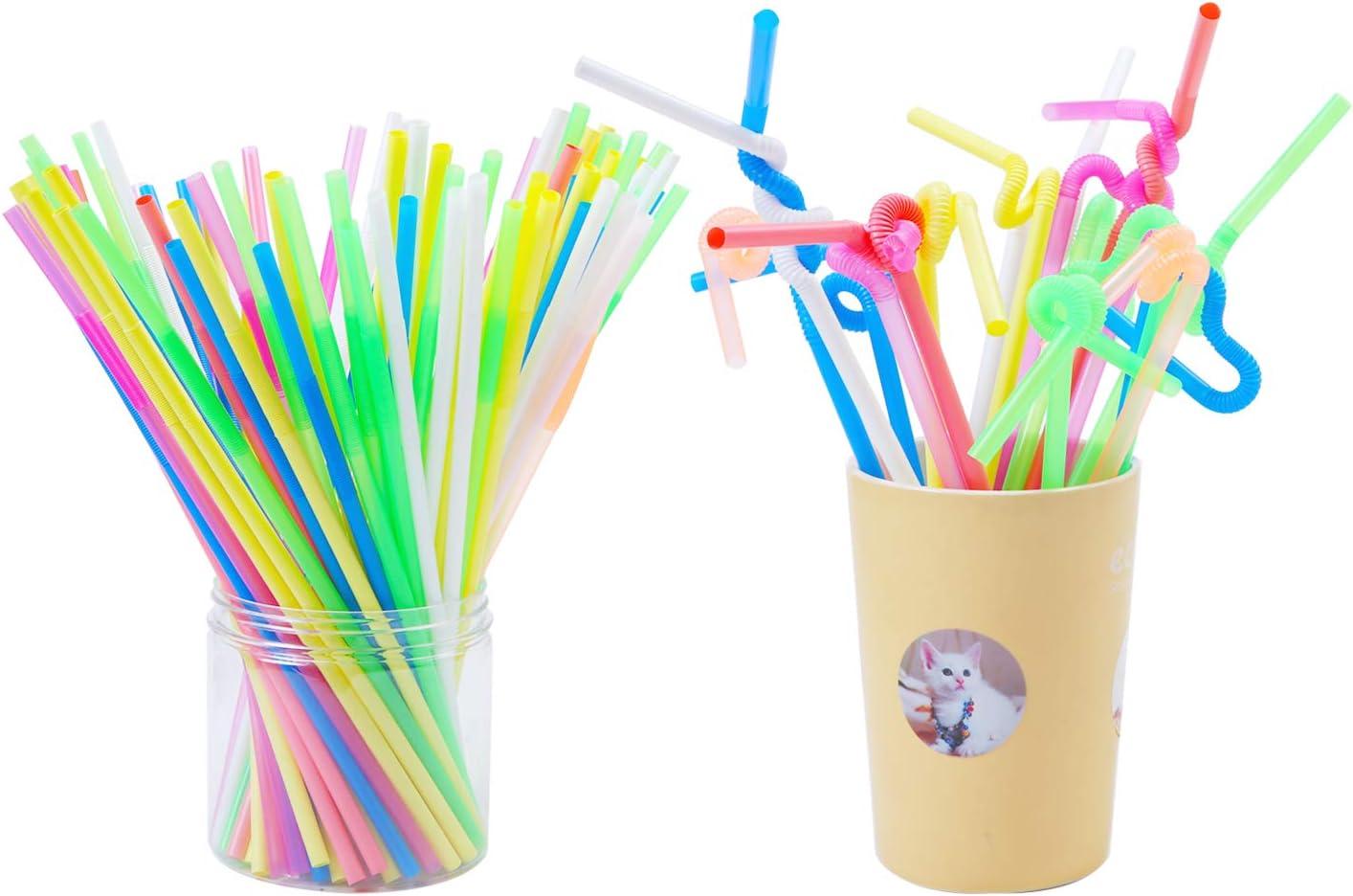 Aneco in plastica usa e getta per bambini e adulti 100 pezzi Cannucce flessibili extra lunghe pieghevoli