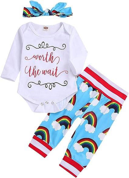 UK Newborn Infant Baby Girl Rainbow Romper Bodysuit Outfit Clothes Headband Set