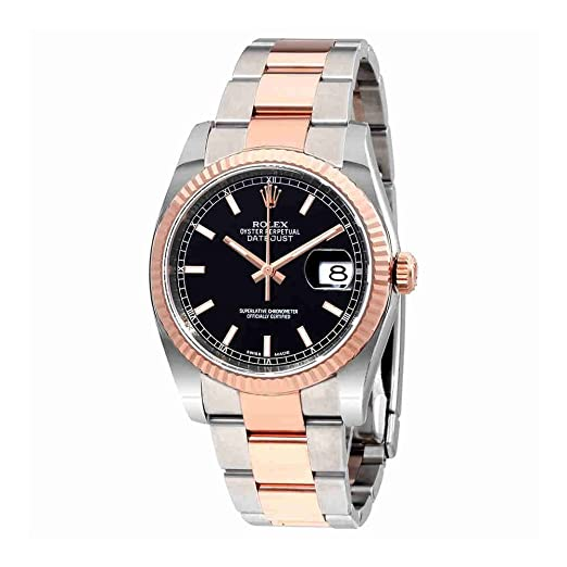 Rolex Oyster Perpetual Datejust 36 negro Dial acero inoxidable acero y 18 K Everose Oro Rolex Oyster automático Mens Reloj 116231BKSO: Amazon.es: Relojes