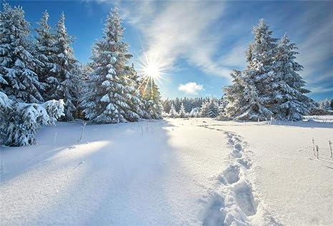 Sfondi Natalizi Innevati.Yongfoto 2 2x1 5m Vinile Fondali Fotografici Paesaggio Invernale