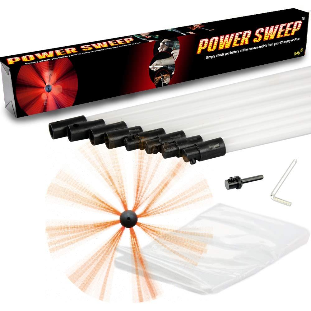 Chimney Brush Sweep Power Sweep Chimney DIY Kit Flexible Full Set (20 Metre) S4U