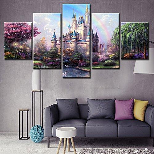 Unframed 5 Panel Disney Castle Canvas Painting Wall Art - Castle Canvas Art
