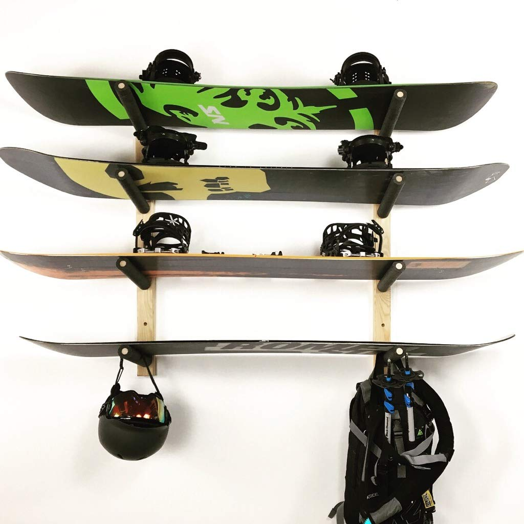Snowboard Wall Rack Mount -- Holds 4 Boards Pro Board Racks