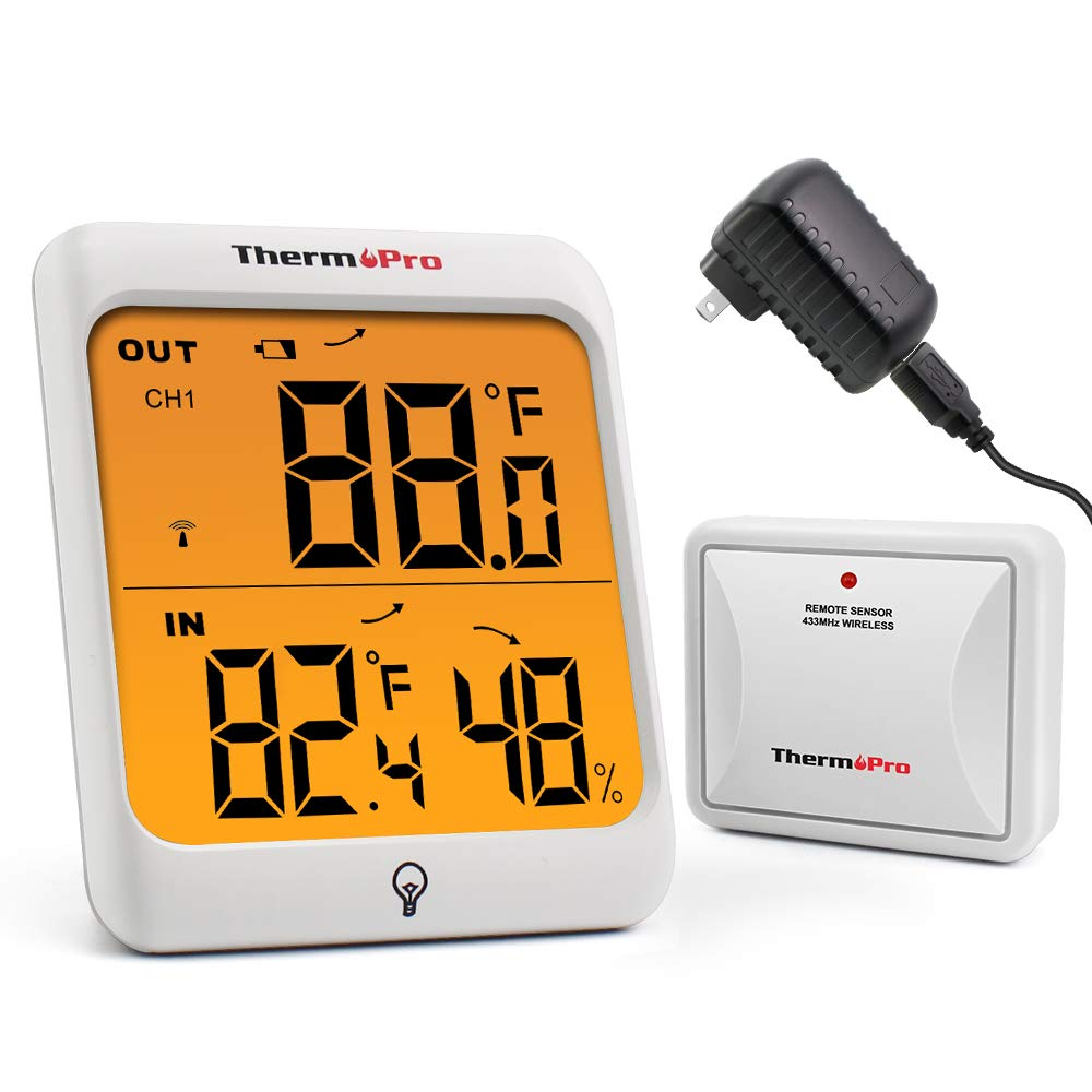 ThermoPro TP63 Digital Wireless Hygrometer Indoor Outdoor Thermometer Wireless Temperature and Humidity Monitor with Touchscreen and Backlight Humidity Gauge, 200ft/60m Range