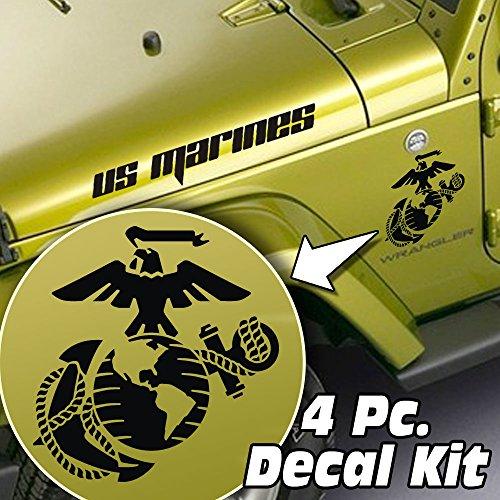 Jeepazoid Jeep Wrangler LJ TJ JK JKU 4 piece Side Hood & Fender Decal Kit - USMC Marine Corps Globe & Anchor - White ()