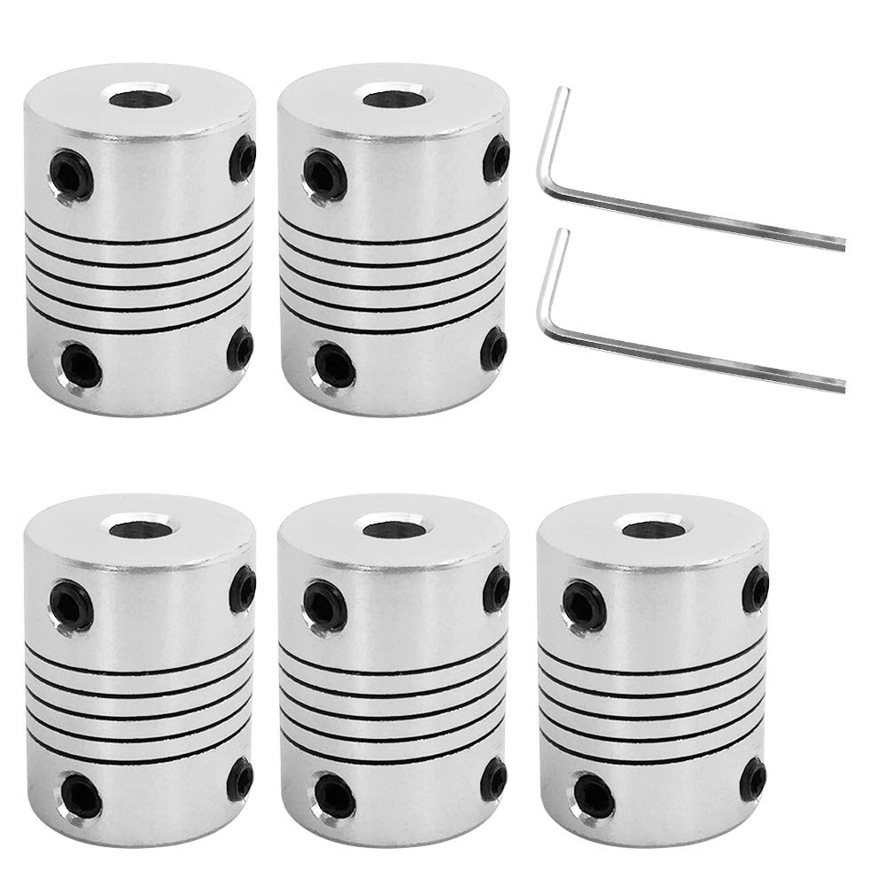 AFUNTA 5 Pcs Flexible Couplings 5mm to 8mm Compatible with NEMA 17 Stepper Motors, Used in Small CNC Machines & 3D Printer Prusa i3 or ORD Bot with 2 Pcs Allen Wrench AF-couplings-5