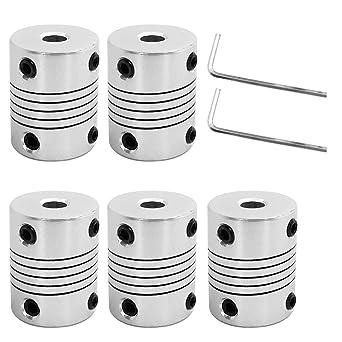 AFUNTA 5 piezas de acoplamientos flexibles de 5 mm a 8 mm compatible con motor paso a paso NEMA 17 utilizado en peque/ñas m/áquinas CNC y impresora 3D Prusa i3 o ORD Bot con 2 llaves Allen