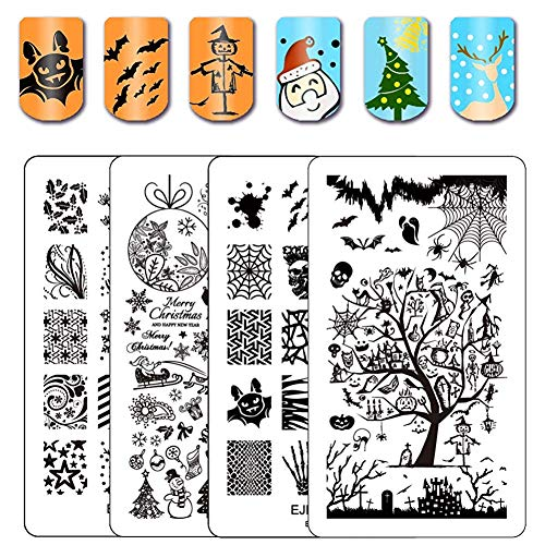 Ejiubas Stamping Plates Halloween Nail Stamping Kits Halloween & Christmas Image Nail Art Plates Manicure Tools Double-sided 2 Counts 4 Sides -