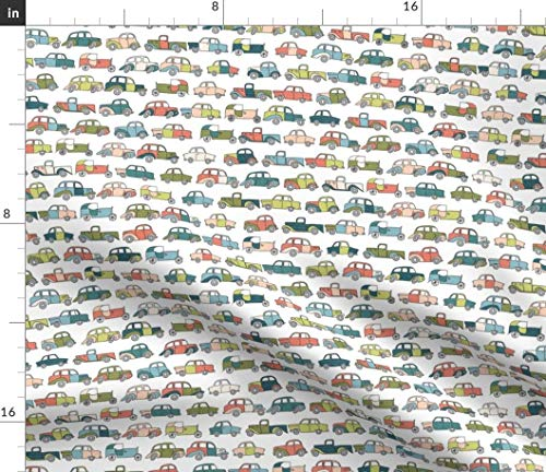 - Spoonflower Tiny Colorful Trucks Fabric - Jalopy Truck Cars Nursery Pattern Car Old Vintage Print on Fabric by The Yard - Petal Signature Cotton for Sewing Quilting Apparel Crafts Decor