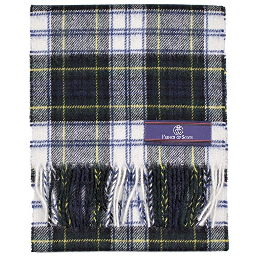 Prince of Scots Pure Merino Lambswool Tartan Scarf Dress Gordon,Blue/White,One Size