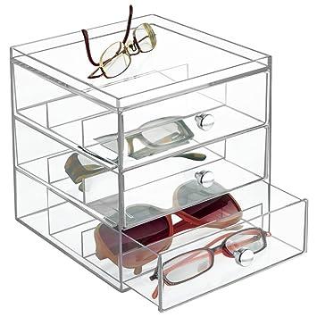 5370914382 mdesign apilable Organizador para gafas, gafas de sol, gafas de lectura - 3  Cajones, transparente: Amazon.es: Hogar