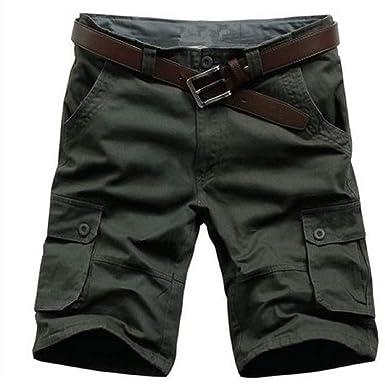 PZJ Cargo Cortos Pantalones Hombre Moda Bermudas Cinturón ...